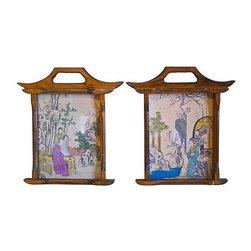 Used Hand-Colored Geisha Prints - A Pair - Beautiful Geisha prints with hand-colored accents displayed in handmade Pagoda-style frames. The perfect accent for any Chinoiserie decor.