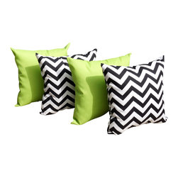 Land of Pillows - Sundeck Lime Green and Chevron Black and White Outdoor Throw Pillow - Set of 4, - Sundeck Lime and Chevron Black Outdoor Throw Pillow - 4 Pack