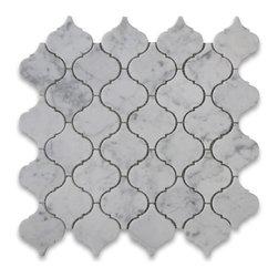 """Stone Center Corp - Carrara Marble Medium Lantern Shaped Arabesque Baroque Mosaic Tile Polished - Carrara White Marble medium lantern shaped pieces mounted on 12x12"""" sturdy mesh tile sheet"""