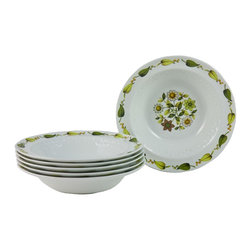 Alfred Meakin Ironstone England on the base - Consigned 6 Green and Yellow Dessert Bowls by Alfred Meakin - A set of six vintage English dessert bowls by Alfred Meakin, made of ironstone pottery, with molded raised pattern decoration on the sides, and with a printed floral design.