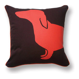 "Naked Decor - Happy Hot Dog Pillow, Orange & Brown - Size: 18""x18"""
