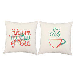 RoomCraft - My Cup of Tea Throw Pillow Covers 16x16 White Cotton Shams - FEATURES: