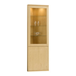 Skovby - Solid Oak Corner Cabinet - This solid oak corner cabinet displays your treasures in style on three sleek glass shelves illuminated with interior lighting. Space-saving design and extra storage space make it practical, while its modern lines are almost too pretty to put in a corner.