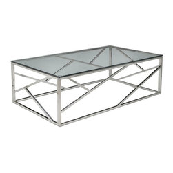 "Pastel Furniture - Pastel Furniture Fuerza 47x28 Rectangular Coffee Table w/ Glass Top - The Fuerza coffee table is not only a beautiful piece of furniture but an art piece as well. In addition to adding elegance and style to a room, it will make a great conversation piece. This coffee table comes in a stainless steel frame with a 28"" x 47"" rectangular glass top."