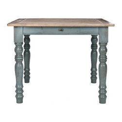 Safavieh Lena Dining Table - Distressed Blue - Give your living space a touch of romance with the chic Safavieh Lena Dining Table - Distressed Blue. Crafted from pinewood and finished in a beautiful distressed blue, this durable table features a functional drawer for storing household items. Seating up to five people, the stylish country style of this dining table is an essential piece to complete your traditional décor. Extendable leaf not included, assembly required.About SafaviehSafavieh is a leading manufacturer and importer of fine rugs. Established in 1914 in the capital of Persian weaving masters, the company today brings three generations of knowledge and experience to its award-winning collections. In the United States since 1978, Safavieh has been a pioneer in the creation of high-quality hand-made rugs, a trend that revolutionized the rug business in America. Its collections range from the finest antique and historical reproductions to the most fashion-forward contemporary and designer rugs.