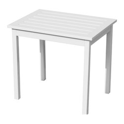 Holly & Martin - Warren End Table, White - This end table has a functional, yet elegantly simple design that is sure to please. Created from all eucalyptus, this square end table is sure to complete your outdoor space or even front patio. The table features four sturdy legs and a wooden slat top to allow for quick drying after a cooling rainfall.