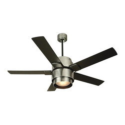 Craftmade - Silo Ceiling Fan with Light - Silo Ceiling Fan with Light in Brushed Aluminum with Black blades is a modern feast for the eyes. Features a 188 x 15  motor,  14 degree blade pitch, Airflow of 6183 cubic feet per minute, 78 watts of electricity usage, and an airflow efficiency of 79.  One 26 watt, 120 volt Compact Fluorescent type Medium base bulb and TCS remote are included. UL listed. Title 24 compliant. Lifetime limited warranty. 56 inch width x 13.4 inch height.