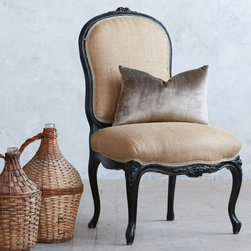 """Eloquence - Eloquence One of a Kind Vintage Side Chair Rustic Black - The One of a Kind collection offers the warmth and character of authentic vintage finds. Intricate and timeless, these elegant side chair makes a stunning statement in a bedroom or living room. Effortlessly unique, the beautiful seat delivers a simple accent to a space with a black painted finish and clean burlap upholstery. The seat's lovely scrolling shape lends a sophisticated aesthetic. Circa 1930. Sold as a set of two. 22""""W x 19""""D x 37""""H."""