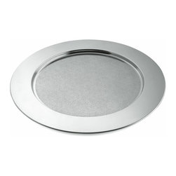 """Alessi - Alessi """"Disco Cesellato"""" Round Tray - Whether you're serving cocktails, snacks or a subpoena, everything looks better when delivered on this polished stainless steel tray. The unblemished circular platter is perfection."""