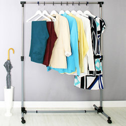Samsonite - Samsonite Expandable Rolling Rack - Free up space in your closet or drawers with this convenient rolling rack. Perfect for airing out clean laundry or hanging up a favorite suit,this sleek steel rolling rack is expandable for maximum storage capacity.