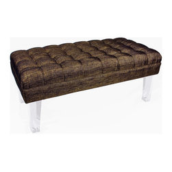 Rojo16 - Montecarlo Bench Brown - Rojo 16 Cote D'Azure Montecarlo Bench is more than comfortable with its exclusive furniture creates a strong focal point and a dramatic impression in a room. This bench with an elegant hint of the French Riviera and its luxurious lifestyle is made with tufted-fabric upholstery. This stylish bench stands on clear-acrylic legs that will perfectly shine and give uniqueness to your room. Avalable in three colors