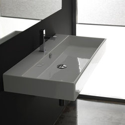 WS Bath Collections - Unlimited 100 Wall-mount or Countertop Bathro - Faucet Hole: With Faucet HoleWall-mount or Countertop Installation. With Overflow. Made to Highest Industry Standards. Made in Italy. Product Material: White Ceramic. Finish/Color: White. Dimensions: 16.7 in. W x 39.4 in. L x 4.5 in. H