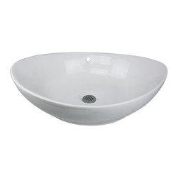 "Nantucket Sinks - Nantucket Sink NSV305 Ceramic Lavatory Sink - Update your bathroom decor with the Nantucket Sinks NSV305. This 23 inch unique oblong shaped vessel sink crafted from Vitreous China is sure to be an eye catcher. This sink has a 1.75"" drain diameter."