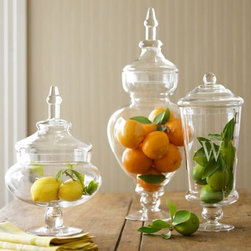 Monogrammed Apothecary Jars - Nothing is more chic than a few apothecary jars filled with your favorite fruit or even colored candy to add a pop of color to your table.