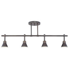 Traditional Track Lighting Industrial Quoizel Clifford Palladian Bronze 4-Light Ceiling Fixture