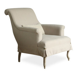 Eloquence - Napoleon French Country Rolled Arm Gray Linen Bergere Accent Chair - Get ready to lounge in style with this sultry armchair, which is the pinnacle of artistic furniture design. You'll lay back and enjoy this shapely French-inspired piece, which includes box pleats, a scrolled back, and comfort galore.