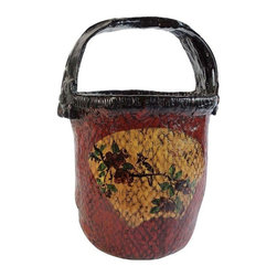 Pre-owned Chinese Woven Basket With Floral Detail - A delightful Chinese woven basket with handle and floral detail.  Would make a cute little planter or vase. Or simply set it alongside other collected treasures on your bookshelf.