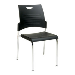Office Star - Work Smart STC Series STC8300C28-3 Straight Leg Stack Chair w/ Plastic Seat & Ba - STC8300C28-3 Straight Leg Stack Chair w/ Plastic Seat & Back - Black belongs to STC Series Collection by Work Smart Straight Leg Stack Chair with Plastic Seat and Back. Black. 2 Pack. Plastic Seat and Back. Available in 2 (STC8300C2), 4 (STC8300C4) or 30 (STC8300C28) Pack. Stacking Dolly Available (DOL8300). 28 Pack ships with Dolly. Chrome Finished Steel Frame. Office Chair (28)