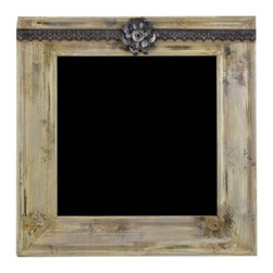 "IMAX - Bennett Distressed Chalkboard - The distressed chalkboard, part of the Ella Elaine collection, features found objects to complete a shabby chic design. Great for busy areas of the home or office to write memos! Item Dimensions: (26""h x 26""w x 1.5"")"
