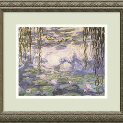 """Water Lilies and Willow Branches"" Framed Print by Claude Monet"