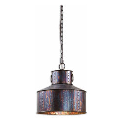 Uttermost - Uttermost Miscellaneous Inverted Pendant Light in Oxidized Bronze - Shown in picture: Oxidized Bronze Finish. Oxidized bronze finish.