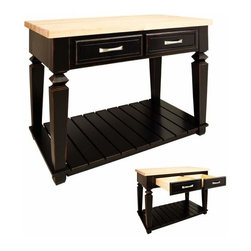 Jeffrey Alexander - Jeffrey Alexander Bungalow Black Kitchen Island 45-15/16 x 28-1/16 Inch - Jeffrey Alexander 45 15/16 Inch x 28 1/6 Inch x 34 1/4 Inch table style island with open shelf is manufactured using the highest quality furniture grade hardwoods and MDF. The island features two deep working drawers on one side and a false front on the reverse. Drawers are dovetail solid hardwood and are mounted on undermount full extension soft close slides. Decorative hardware is included with Jeffrey Alexander item. Coordinating post P34 is available in our carved wood collection. Aged Black finish is applied by hand. 1 3/4 Inch hard maple edge grain butcher block top sold separately (ISL03 TOP  48 Inch x 30 Inch) Overall Dimensions: 45 15/16 Inch x 28 1/16 Inch x 34 1/4 Inch Dimensions taken from the widest point Finished in Aged Black (finish applied by hand)  All Materials used meet California CARB2 Requirements