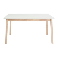 Euro Style - Montana Ext. Dining Table - Sometimes you want pieces that don't make a fuss. That requires simplicity of design that puts function first. The Montana collection is a perfect example. White tops and natural rubber wood legs and frames may not make the boldest statement until you want to use them.