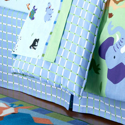 Olive Kids - Olive Kids Wild Animals Bedskirt - Wild Animals Bedskirt in coordinating blue with green and white plaid is tailored with pleats for a clean, finished look. Drop: 60% Cotton 40% Polyester Printed; Platfrom: 80% Polyester 20% Cotton