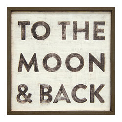 To The Moon and Back Reclaimed Wood Vintage Wall Art, Small