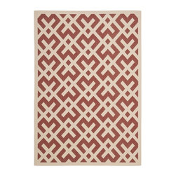 """Safavieh - Poolside Red/Bone Indoor/Outdoor Area Rug (5'3"""" x 7'7"""") - This striking indoor/outdoor rug will make a big difference in enhancing your home or office decor. With its bold geometric design, it is guaranteed to do wonders for your modern interiors. Its resistance to natural elements offers lasting performance."""