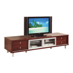 Global Furniture - Global Furniture USA M722TV 4-Drawer TV Cabinet in Mahogany with Silver - This chic media console will be a lovely addition to your home, perfect for your living room or family room. Sleek wood veneer construction creates a sturdy frame, with smooth, clean lines. The top is finished in a warm mahogany color and is large enough to hold your television, while two glass sliding doors and drawers provide space for electronic components and other media items. This console is both stylish and practical.