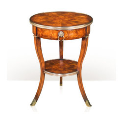 Theodore Alexander - Around in Circles Lamp Table - mahogany and brass bound circular lamp table, one frieze drawer, inswept splay legs, undertier. The original Louis XV.