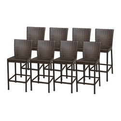 TKC - 8 Classic Barstools w/ Back - Simple, affordable and beautiful, the barstool is all about sharp lines, and beautiful sleek design. This barstool proves that being minimal can still be engaging, comfortable, and beautiful in a patio furniture setting.