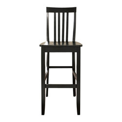 Crosley - School House Bar Stool, Black, 29in. - Constructed of solid hardwood, this School House style bar stool is designed for longevity. Contoured seats and shaped back provide the ultimate in comfort. The 24 or 29 inch seat height makes this stool perfect for 36 inch height dining tables or counter seating. Skilled craftsmanship and attention to detail is sure to put the finishing touch on your home.