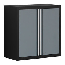 None - Pro Series Grey Wall Cabinet - The NewAge Pro Series Wall Cabinet effectively stores heavy-duty garage gear out of the way behind powerful steel doors with pegboard side panels for extra tool storage. The two full-width adjustable shelves provide a custom storage space.