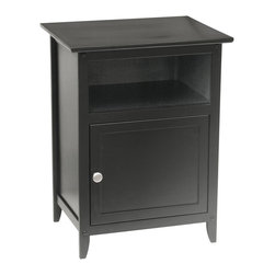 Winsome - End / Night Table - Black - This wood shaker style nightstand with drawer is perfect for any room's decor. Constructed of solid hardwoods, this black nightstand adds a warm touch to any room. Assembly Required.