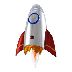 n/a - Flickering Metallic Rocketship Plug In Night Light - This rocketship night light adds a decorative accent to the room, while providing just enough light to soothe a child`s mind. It measures 6 1/2 inches long, 4 inches wide, and has a chrome body with red, gold, and blue accents. This night light has a 360 degree swivel plug so it can plug into any outlet, and it contains an on/off switch on the base. It uses a 1 watt (max) flickering bulb (included).