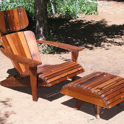 Adirondack Chair Lounger and Ottoman made from Reclaimed Mixed Harvest Redwood - Maybe, the worlds most comfortable Adirondack Chair, Mid Century, Estate Patio Furniture, Modern Adirondack Chair.