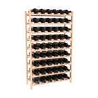 54 Bottle Stackable Wine Rack in Pine - Three times the capacity at a fraction of the price for the 18 Bottle Stackable. Wooden dowels enable easy expansion for the most novice of DIY hobbyists. Stack them as high as you like or use them on a counter. Just because we bundle them doesn't mean you have to as well!