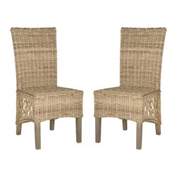Safavieh - Sumatra Side Chair  (Set Of 2) - Imagine dining al fresco at an exotic tropical resort with comfortable Sumatra rattan side chairs around the table. These transitional chairs are woven of sturdy but naturally flexible Kubu grey rattan with high backs and open weave pattern on each side.