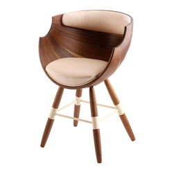 Lopfurniiture - Zun Chair - Feel like you are sitting in a perfectly sculpted giant nut shell, this chair combines old world craftsmanship and futuristic style. Available in olive ash and walnut, the faux leather back adds an element of Go-go chic. This unusual seat is made of sustainable wood and organic fabric.