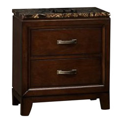 Homelegance - Homelegance Bleeker 2 Drawer Nightstand w/ Faux Marble Top - Blending elements found in both contemporary and transitional styling, the Collection allows for functional placement in many bedroom settings. Faux marble immediately draws your eye to the linear design of the cherry finished case pieces - the rich tones perfectly accented by uniquely designed burnished hardware. The coordinating beds are where your personal design preferences are allowed the creativity to create your own look - the framed headboard of the wood bed features a stylish brown-grey toned fabric, while the padded dark brown bi-cast vinyl bed lends itself to a more contemporay look.
