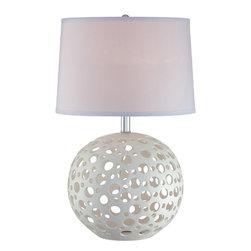 Lite Source - Table Lamp - White Ceramic/White Fabric Shade - Table Lamp - White Ceramic/White Fabric Shade