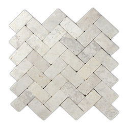 """Pebble Tile Shop - Cream Herringbone Stone Mosaic Tile - Usage:      Walls, shower floors, bathroom floors, general flooring, backsplashes, swimming pools, patios, fireplaces and more. Interior & exterior. Commercial & residential.    Details:          Sheet Backing: Mesh        Sheet Dimensions: Approx 11\ x 12\""""        Coverage Size: Approx 0.92 sq. ft.         Size of Each Stone: Approx 2 3/8\"""" x 1 1/8\""""        Thickness: 4/10\""""        Finish: Natural Cream"""""""