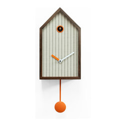 WS Bath Collections - Mr. Orange 2190 Beige Stripe Wall Clock - Wall cuckoo clock with the classical form, already known and appreciated, to which we are attached: the cottage. Here, however, the lines are clean, simple, the structure is reduced to the essence. Mr. Orange is realized by a solid walnut grid with reduced section that defines a number of areas filled with different patterns. As a painting, the structure acts as a frame. You can choose between different textures to give the preferred form to Mr. Orange and match the style of your home. In addition to the wooden frame, the common feature that distinguishes every clock is the orange color. Battery quartz movement. The Cuckoo strike is switched off automatically during the night controlled by a light sensor.