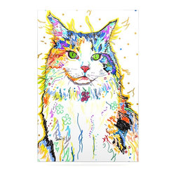 """Kess InHouse - Rebecca Fischer """"Royal"""" Rainbow Cat Metal Luxe Panel (16"""" x 20"""") - Our luxe KESS InHouse art panels are the perfect addition to your super fab living room, dining room, bedroom or bathroom. Heck, we have customers that have them in their sunrooms. These items are the art equivalent to flat screens. They offer a bright splash of color in a sleek and elegant way. They are available in square and rectangle sizes. Comes with a shadow mount for an even sleeker finish. By infusing the dyes of the artwork directly onto specially coated metal panels, the artwork is extremely durable and will showcase the exceptional detail. Use them together to make large art installations or showcase them individually. Our KESS InHouse Art Panels will jump off your walls. We can't wait to see what our interior design savvy clients will come up with next."""
