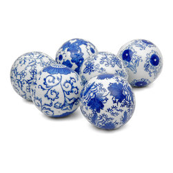 "Oriental Furniture - 3"" Blue and White Decorative Porcelain Ball Set - Unique set of six fine quality vitreous porcelain ceramic spheres, finished in an authentic array of traditional Ming dynasty era artistic designs. Simple yet traditional home decor accents, perfect for formal interior designs as well as casual decorative tastes and styles. Woven rattan display basket is not included."