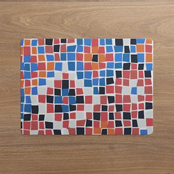 Mosaic Placemat - Casual mosaic pattern pieces together in a colorful diamond pattern that looks like handcrafted tiling. Easy-care PVC cleans with a swipe of a damp cloth and rolls up for easy storage.