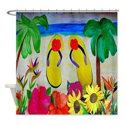 usa - Flip Flops And Flowers Shower Curtain - Beautiful shower curtains created from my original art work. Each curtain is made of a thick water resistant polyester fabric. The permanently applied art work appears on the front side with the inside being white. 12 button holes for easy hanging, machine washable and most importantly made in the USA. Shower rod and rings not included. Size is a standard 70''x70''