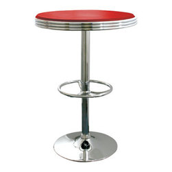 New Buffalo Corp. - Amerihome Soda Fountain Style Bar Table - Red - The retro Amerihome Soda Fountain Style Bar Table adds a classic design to the kitchen, bar, game room, basement, or shop. The bar table has the retro style reminiscent of the days of diners and drive-ins, and features a polished chrome base that is accented with a Red vinyl top for a hint of classic vintage design.